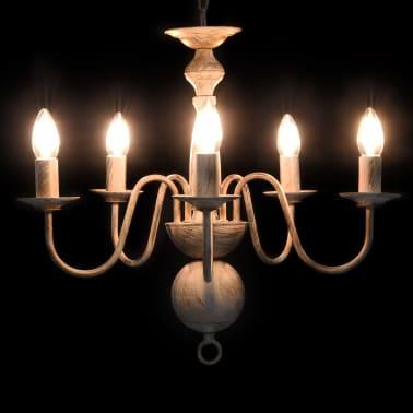 vidaXL Sietynas, baltos spalvos, 5 x E14 lemputės, senovinio stiliaus[2/7]