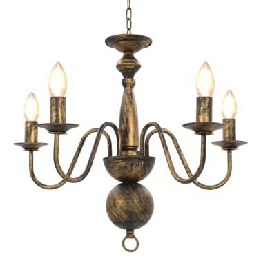 vidaXL Lustre Noir antique 5 ampoules E14[1/7]