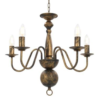 vidaXL Lustre Noir antique 5 ampoules E14[2/7]