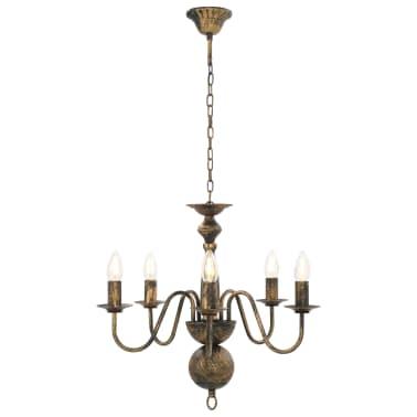 vidaXL Lustre Noir antique 5 ampoules E14[3/7]