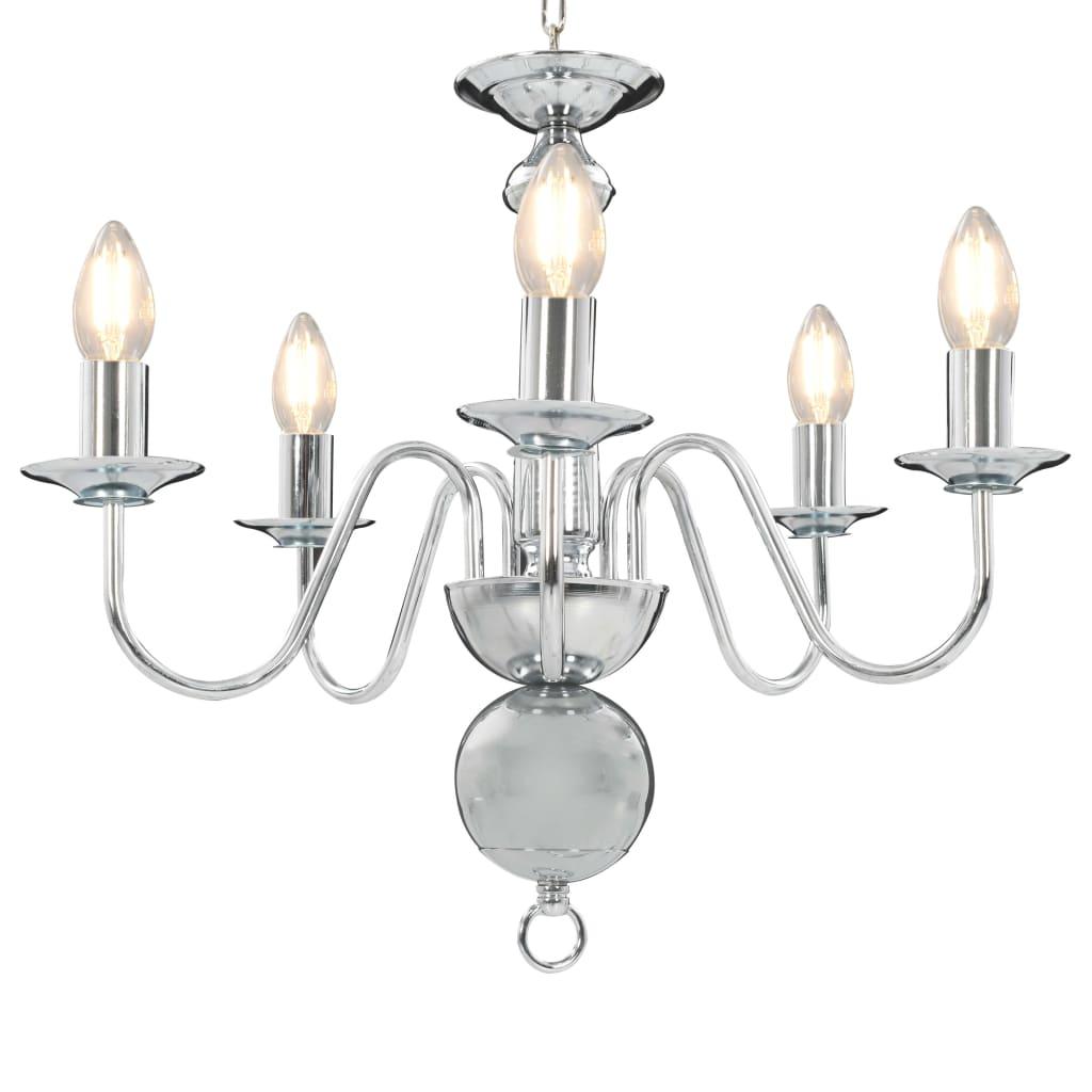 vidaXL Lustr stříbrný 5 x žárovka E14