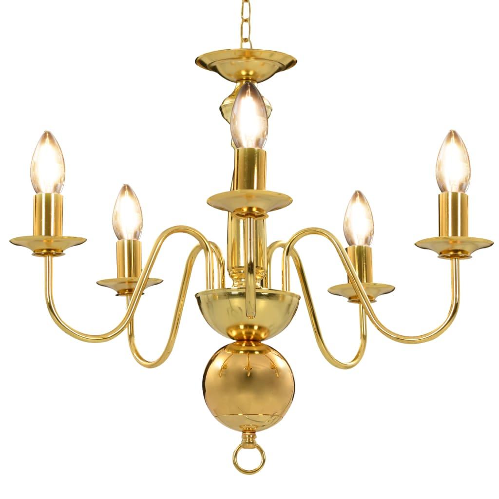 vidaXL Πολυέλαιος Χρυσός με 5 Ντουί Ε14
