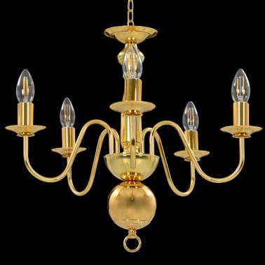 vidaXL Lustre Doré 5 ampoules E14[3/11]