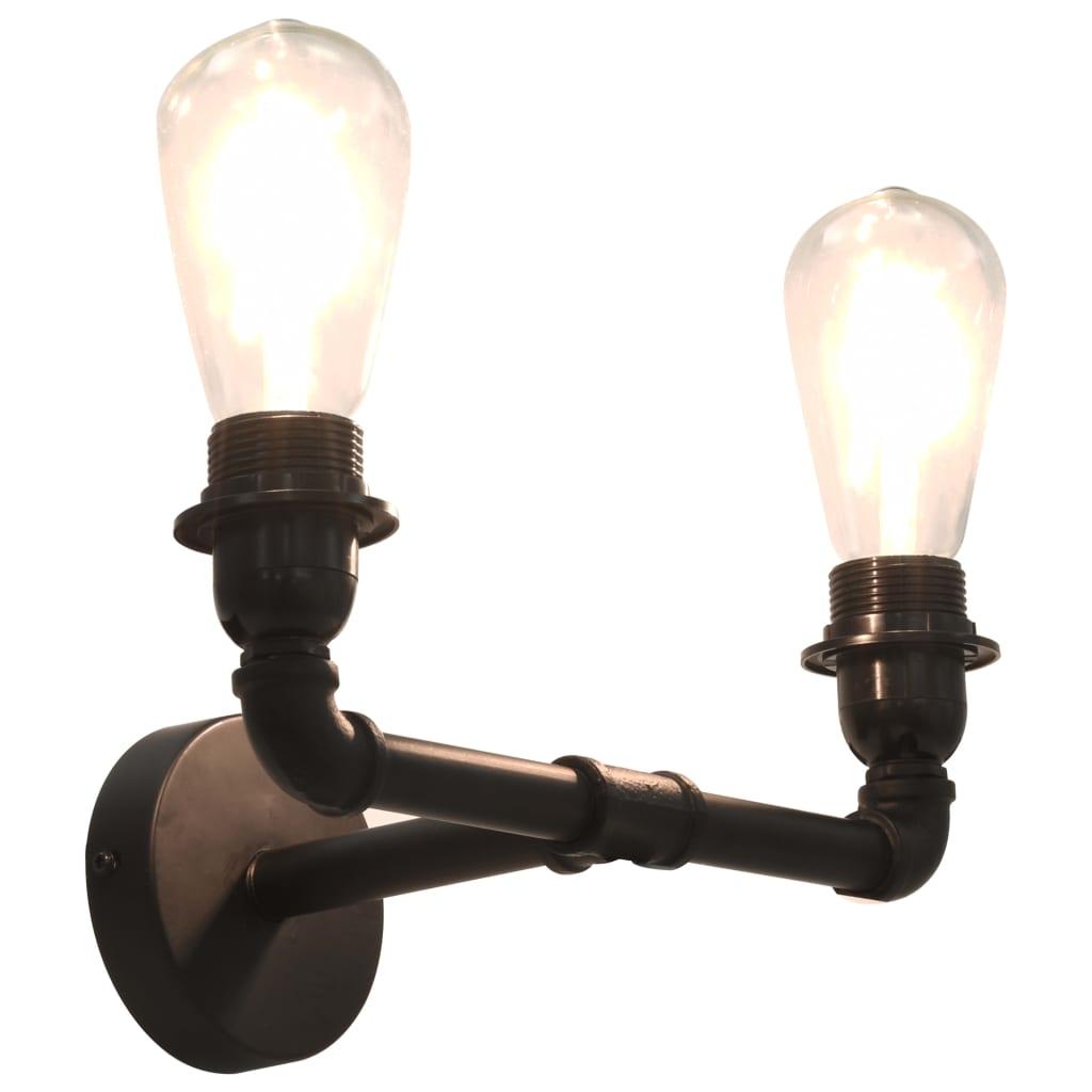vidaXL Lampă de perete cu 2 brațe, negru, 2 becuri x E27 poza 2021 vidaXL
