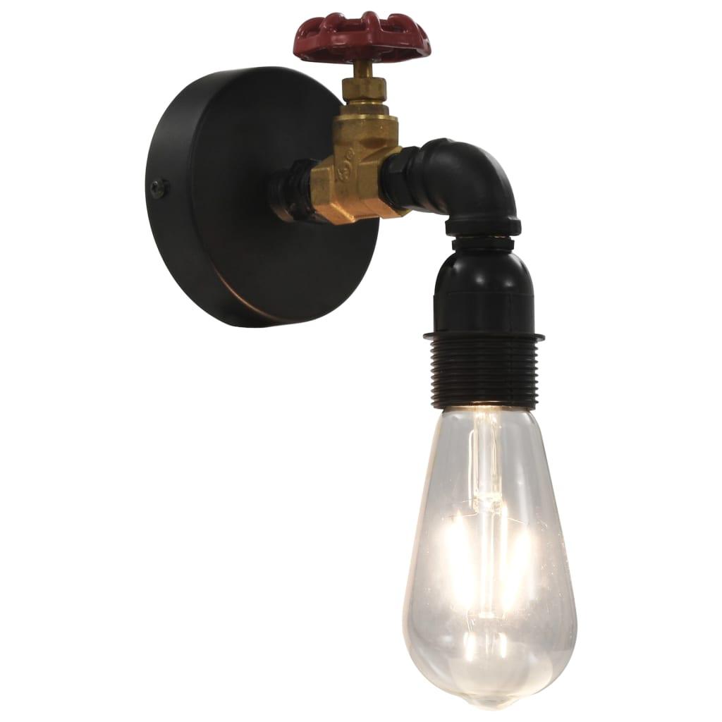 Nástěnná lampa design vodovodní kohoutek černá E27