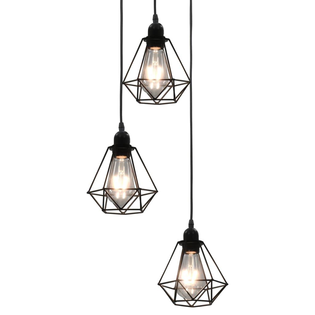Stropní lampa s diamantovým designem černé 3 x žárovky E27