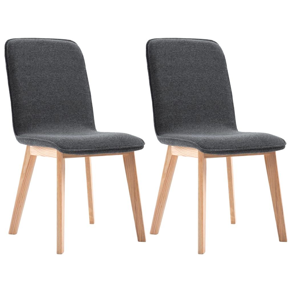 vidaXL Καρέκλες Τραπεζαρίας 2 τεμ. Γκρι Υφασμάτινες / Μασίφ Ξύλο Δρυός