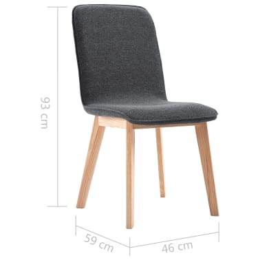 vidaXL 2 pcs Chaises de salle à manger Gris Tissu et chêne