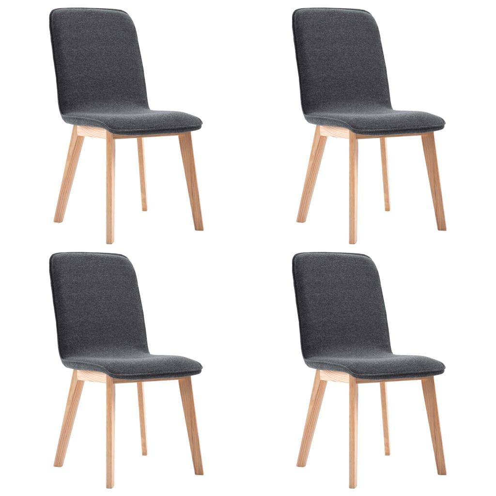 vidaXL Καρέκλες Τραπεζαρίας 4 τεμ. Γκρι Υφασμάτινες / Μασίφ Ξύλο Δρυός