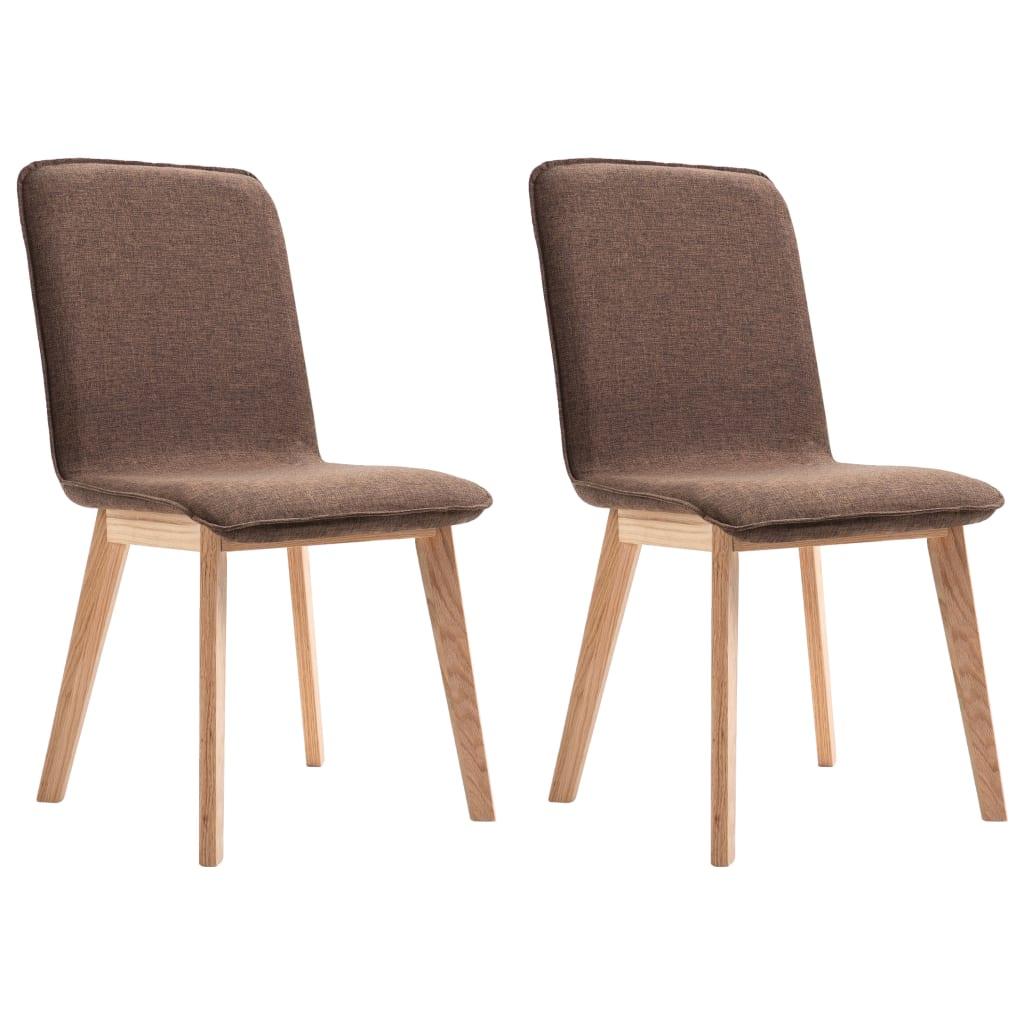 vidaXL Καρέκλες Τραπεζαρίας 2 τεμ. Καφέ Υφασμάτινες / Μασίφ Ξύλο Δρυός
