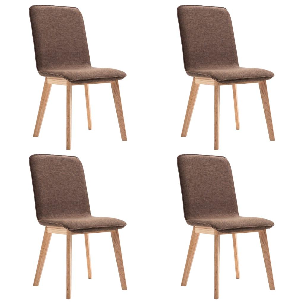 vidaXL Καρέκλες Τραπεζαρίας 4 τεμ. Καφέ Υφασμάτινες / Μασίφ Ξύλο Δρυός
