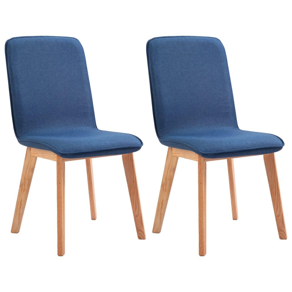 vidaXL Καρέκλες Τραπεζαρίας 2 τεμ. Μπλε Υφασμάτινες / Μασίφ Ξύλο Δρυός