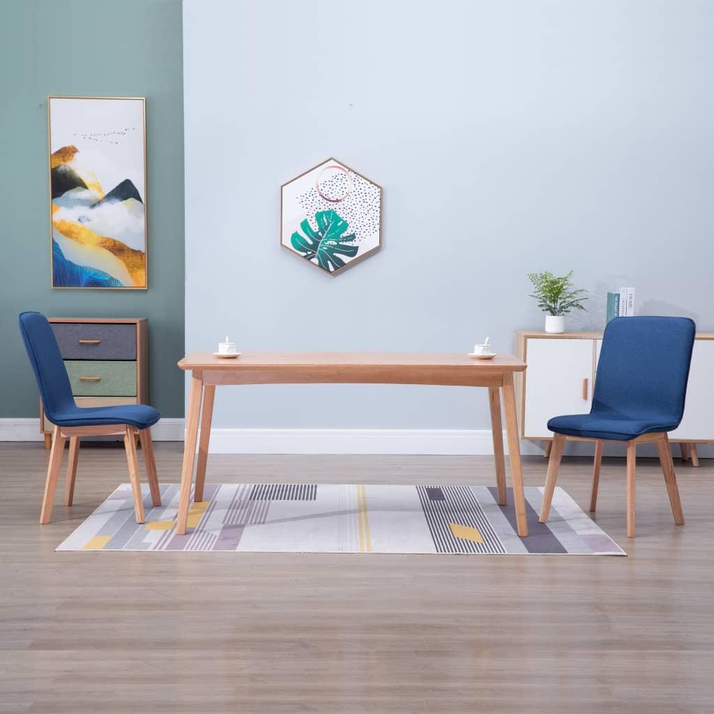 vidaXL Scaune de bucătărie 2 buc. albastru, textil & lemn stejar masiv vidaxl.ro