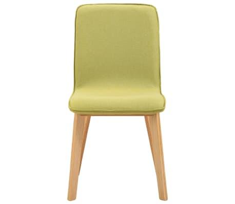 vidaXL Esszimmerstühle 2 Stk. Grün Stoff und Massivholz Eiche