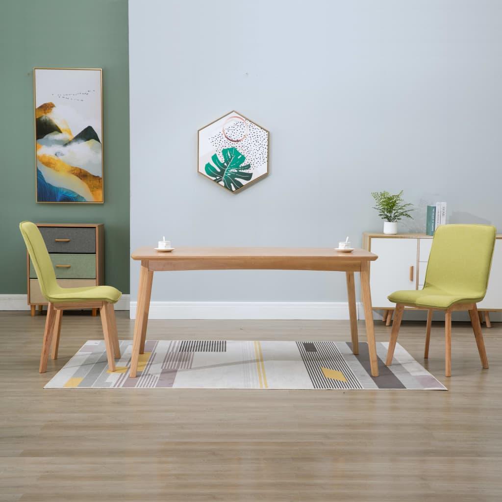 vidaXL Krzesła do jadalni, 2 szt., zielone, tkanina i lity dąb