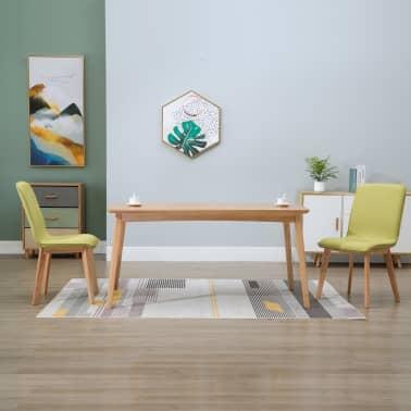 vidaXL Esszimmerstühle 2 Stk. Grün Stoff und Massivholz