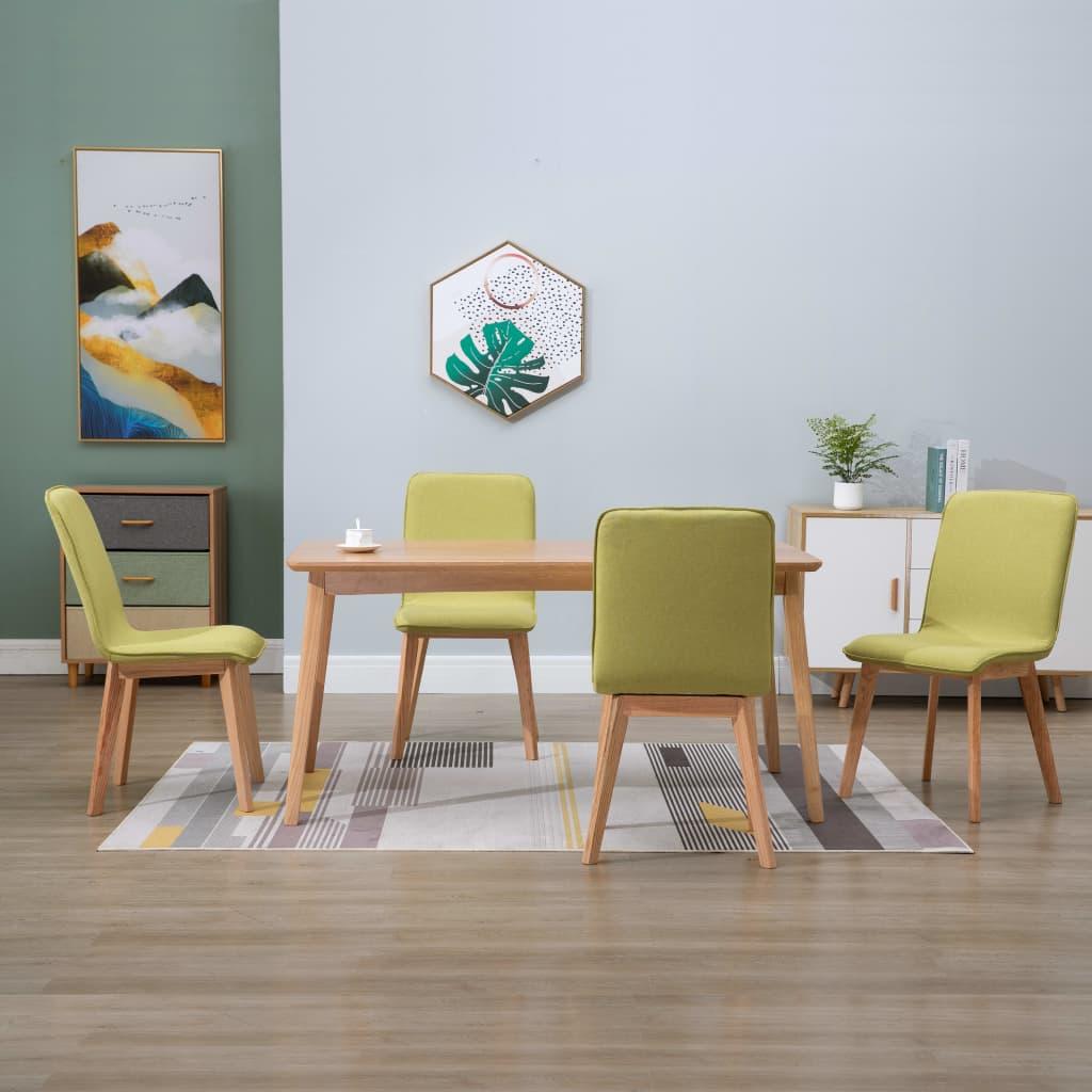 vidaXL Scaune de bucătărie 4 buc, verde, textil & lemn de stejar masiv imagine vidaxl.ro