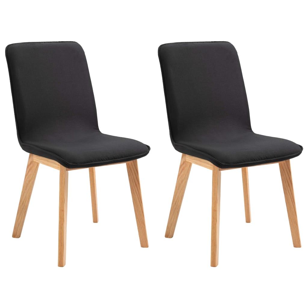 vidaXL Καρέκλες Τραπεζαρίας 2 τεμ. Μαύρες Ύφασμα / Μασίφ Ξύλο Δρυός