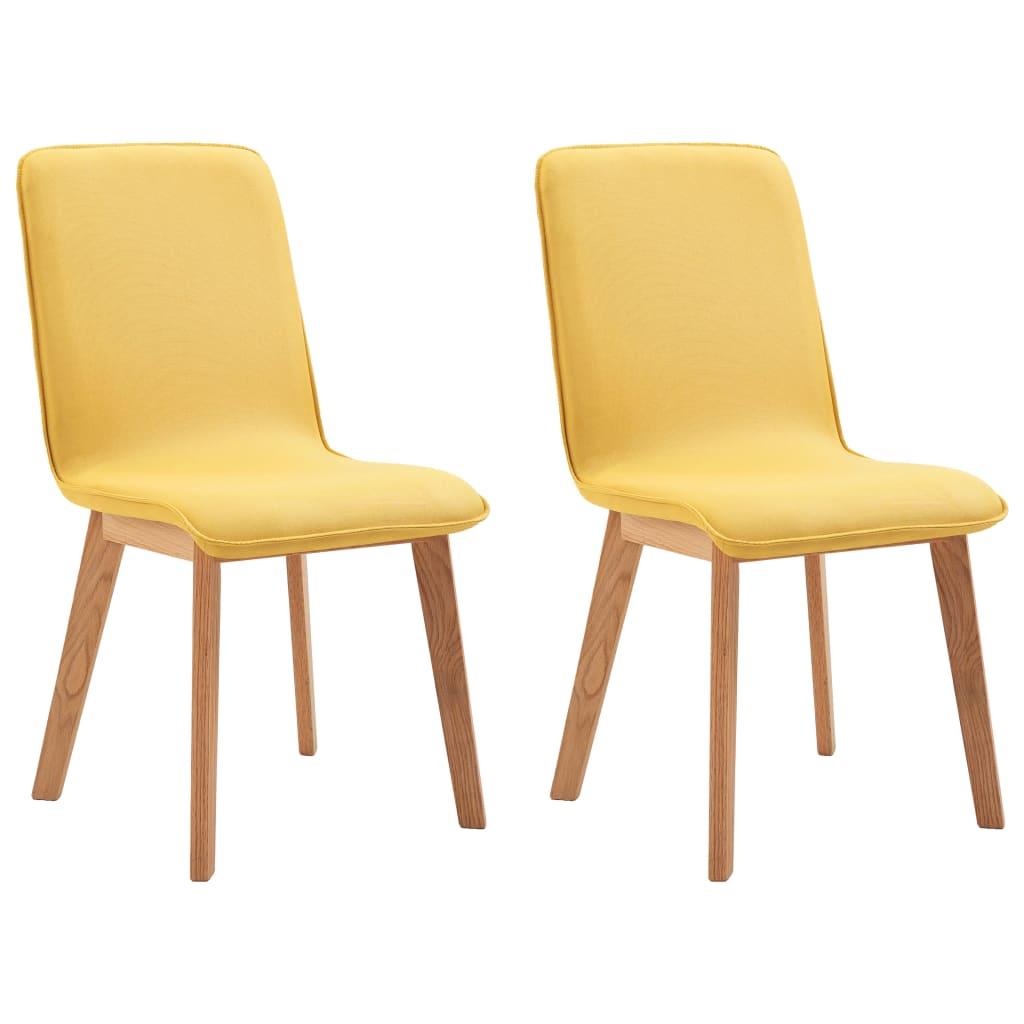 vidaXL Καρέκλες Τραπεζαρίας 2 τεμ. Κίτρινες Ύφασμα / Μασίφ Ξύλο Δρυός