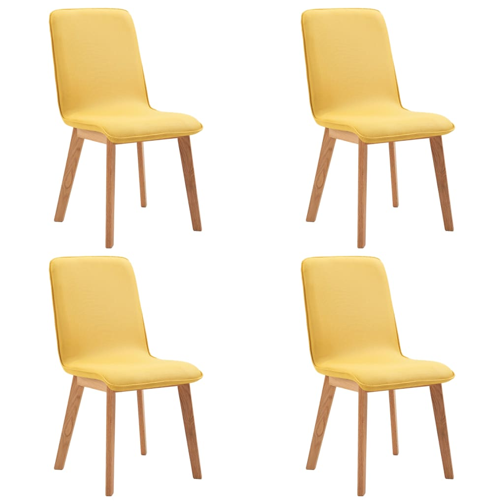 vidaXL Καρέκλες Τραπεζαρίας 4 τεμ. Κίτρινες Ύφασμα / Μασίφ Ξύλο Δρυός