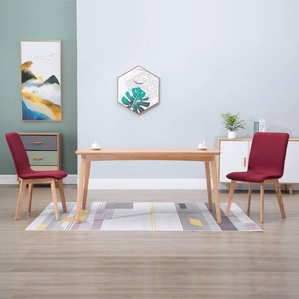vidaXL Scaune de bucătărie, 2 buc, roșu, textil & lemn de stejar masiv imagine vidaxl.ro