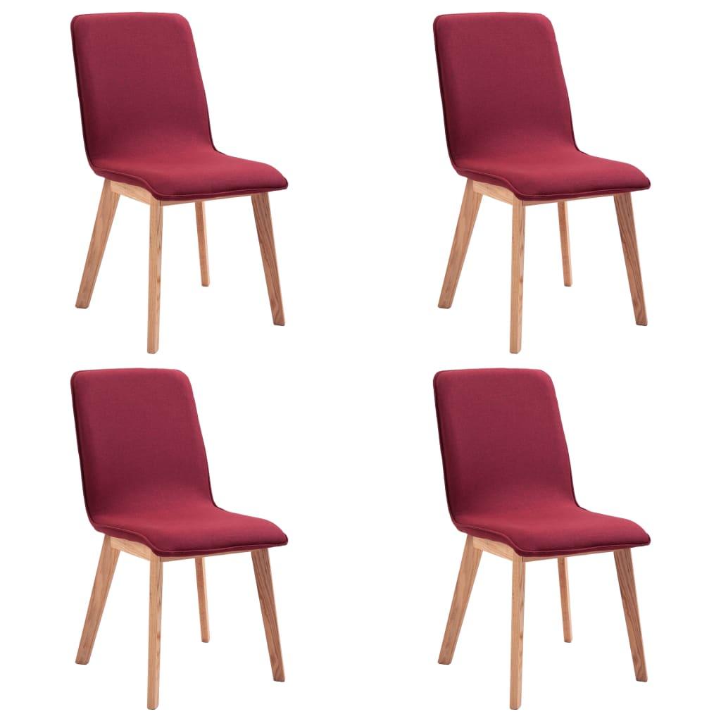 vidaXL Καρέκλες Τραπεζαρίας 4 τεμ. Κόκκινες Ύφασμα / Μασίφ Ξύλο Δρυός