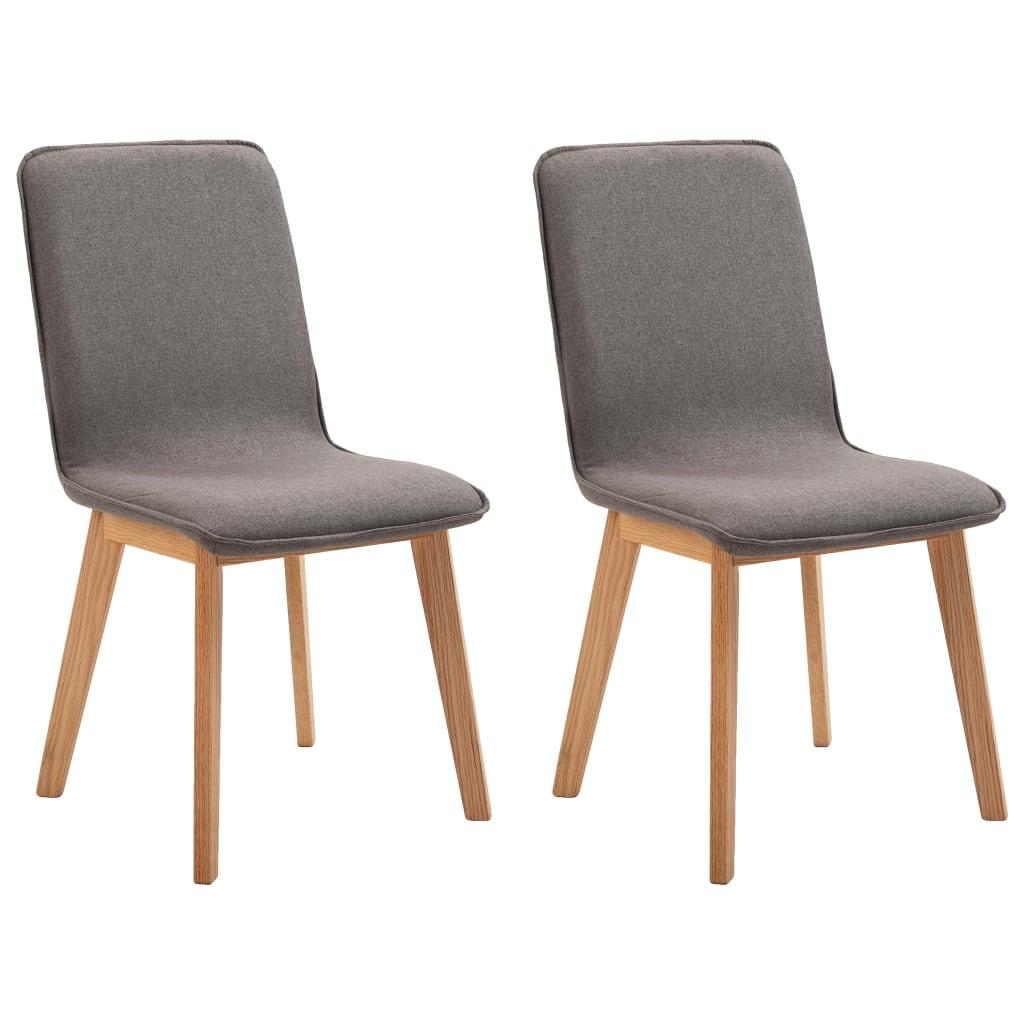 vidaXL Καρέκλες Τραπεζαρίας 2 τεμ. Χρώμα Taupe Ύφασμα/Μασίφ Ξύλο Δρυός