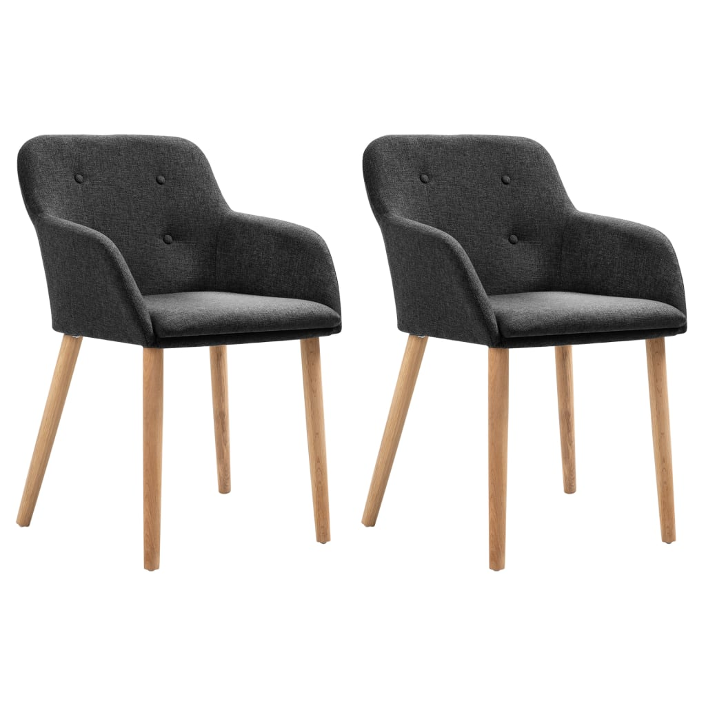vidaXL Καρέκλες Τραπεζαρίας 2 τεμ. Σκούρο Γκρι Ύφασμα/Μασίφ Ξύλο Δρυός