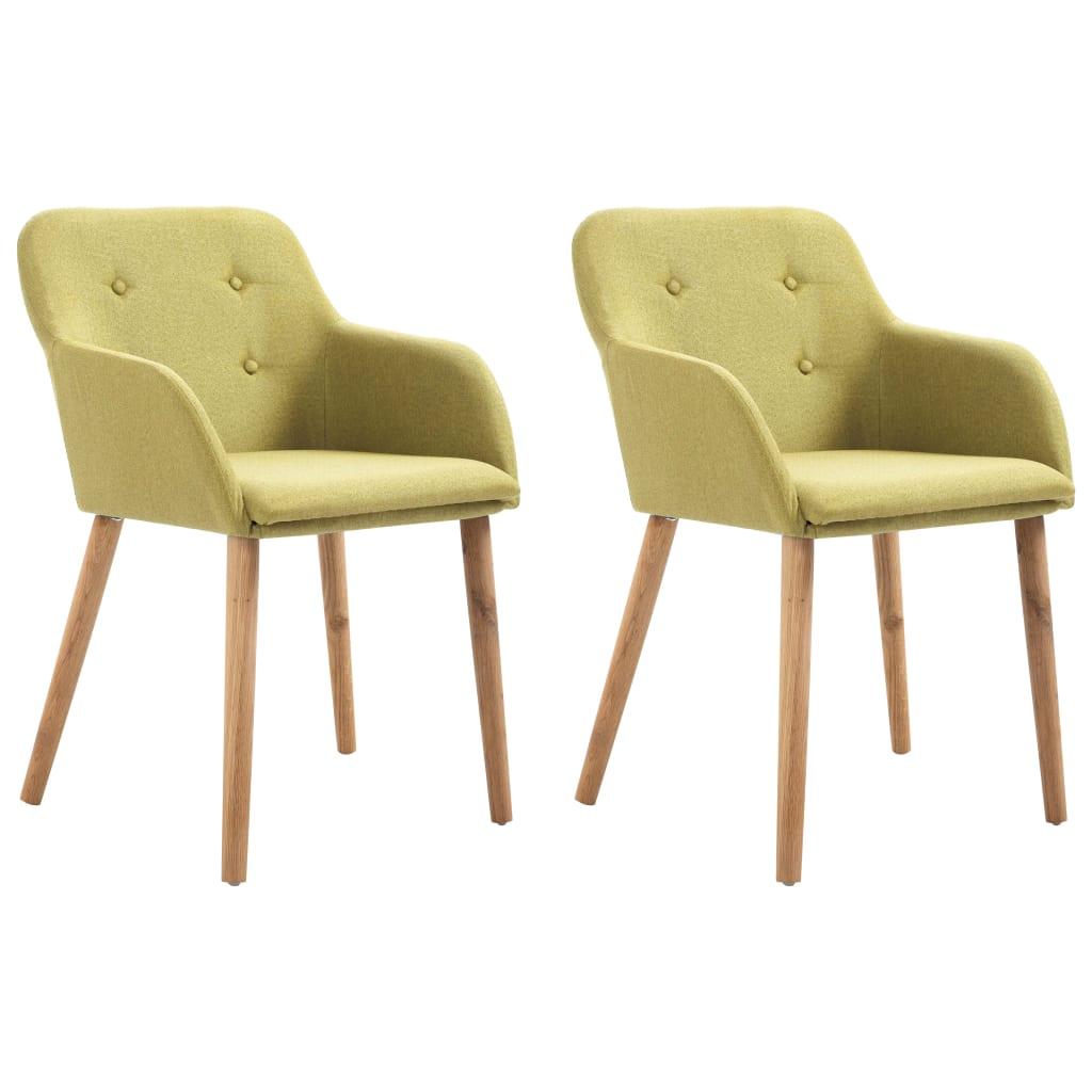 vidaXL Καρέκλες Τραπεζαρίας 2 τεμ. Πράσινες Υφασμάτινες