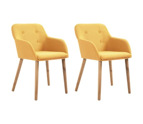 vidaXL Dining Chairs 2 pcs Yellow Fabric and Solid Oak Wood