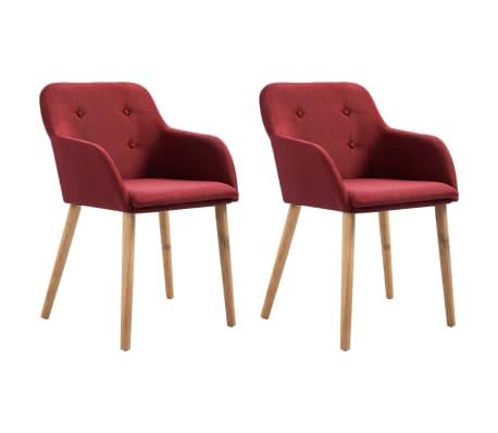 vidaXL Jídelní židle 2 ks vínové textil a masivní dubové dřevo