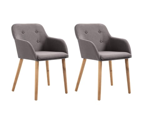 vidaXL Dining Chairs 2 pcs Taupe Fabric and Solid Oak Wood