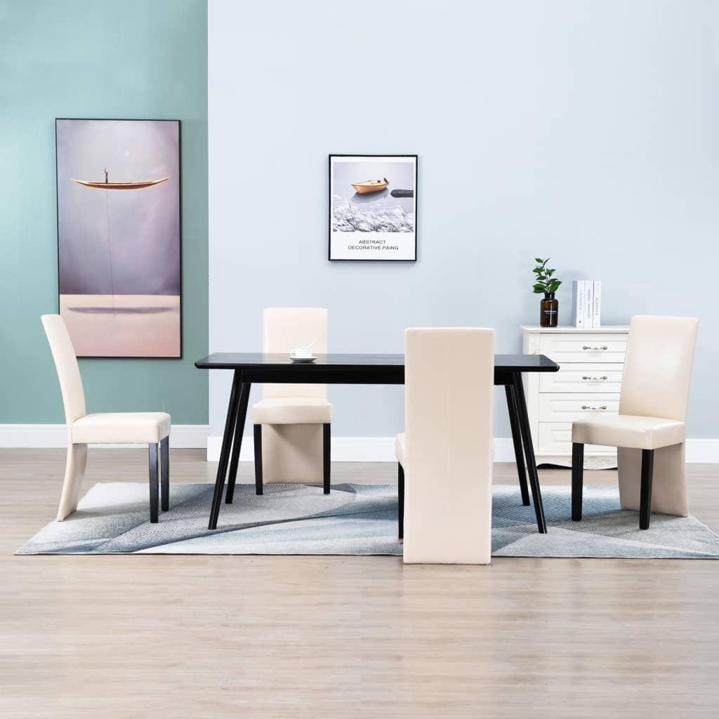 vidaXL spisebordsstole 4 stk. cremefarvet kunstlæder