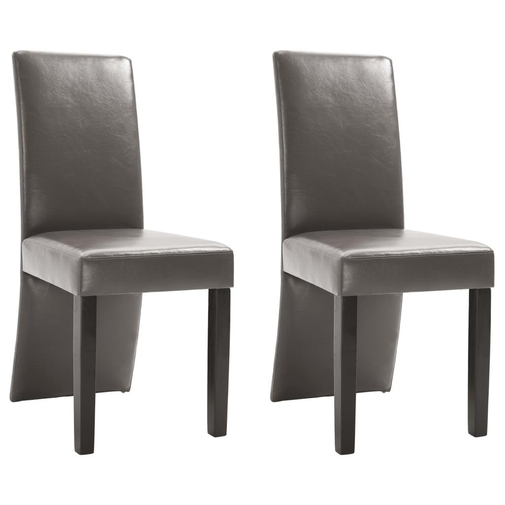 vidaXL Καρέκλες Τραπεζαρίας 2 τεμ. Γκρι από Συνθετικό Δέρμα