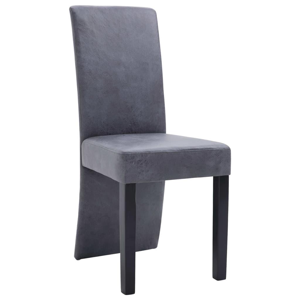 vidaXL Eetkamerstoelen 4 st kunstsuède grijs