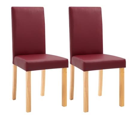 vidaXL Jídelní židle 2 ks červené umělá kůže