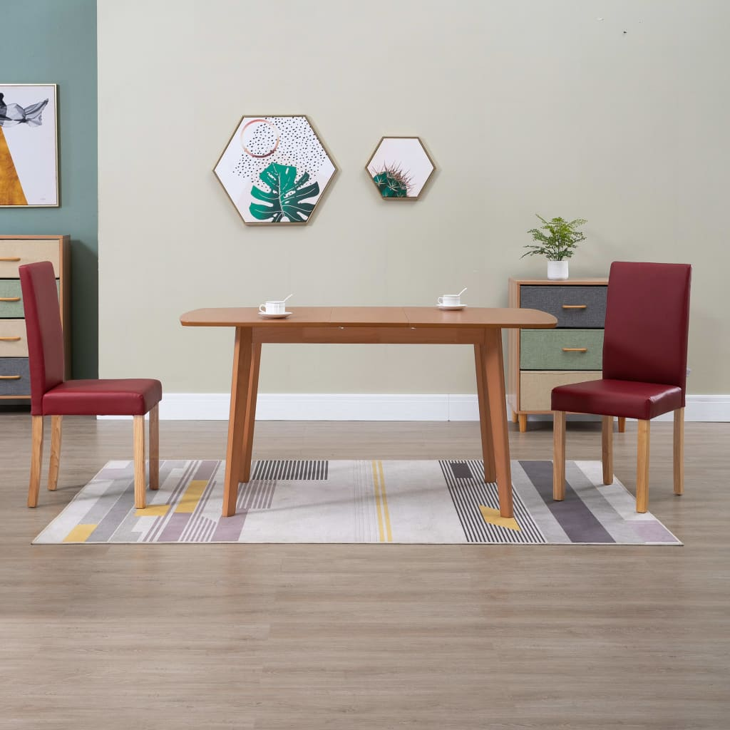 vidaXL spisebordsstole 2 stk. rød kunstlæder