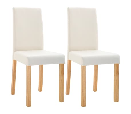 vidaXL Dining Chairs 2 pcs Cream Faux Leather