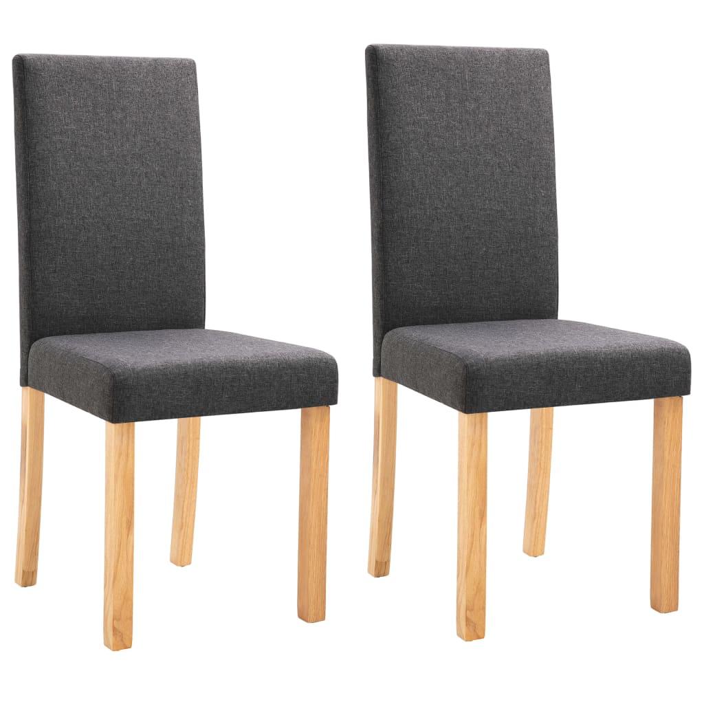 vidaXL Καρέκλες Τραπεζαρίας 2 τεμ. Σκούρο Γκρι Υφασμάτινες
