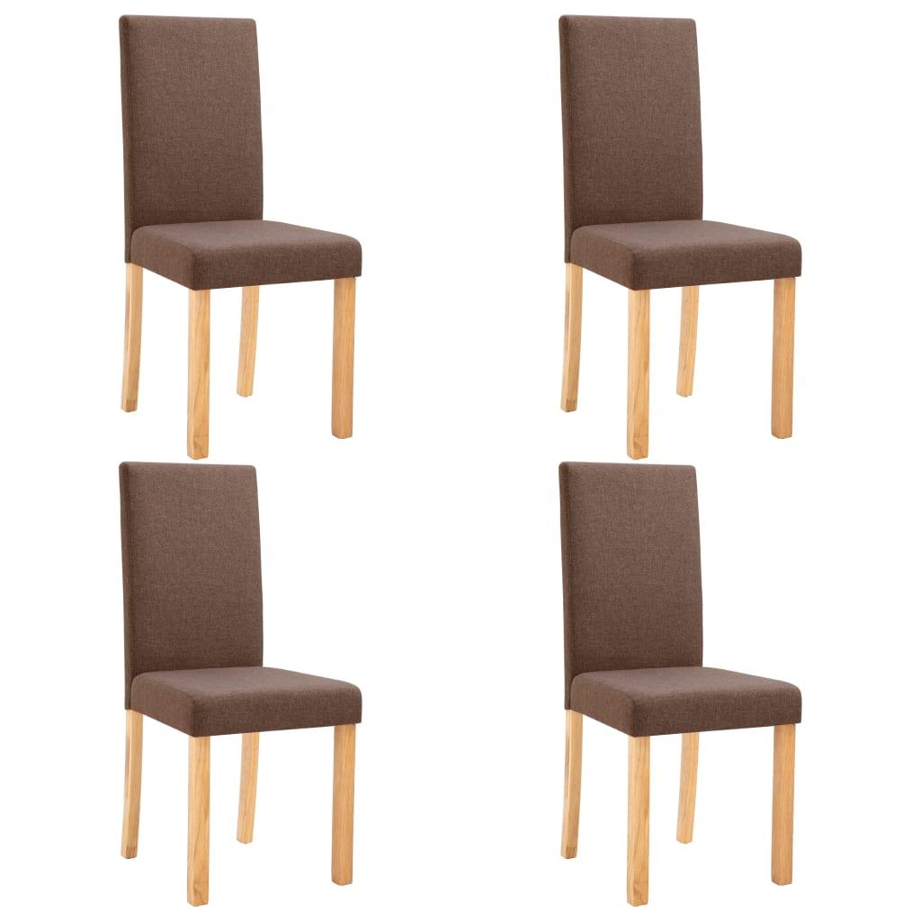 vidaXL Καρέκλες Τραπεζαρίας 4 τεμ. Καφέ Υφασμάτινες