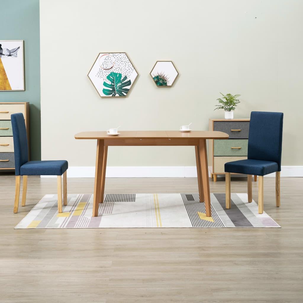 Jídelní židle 2 ks modré textil