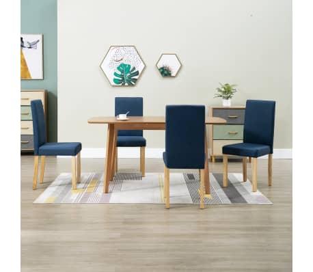 Détails sur vidaXL 4x Chaises de Salle à Manger Bleu Tissu Siège Salon Cuisine Dîner Repas