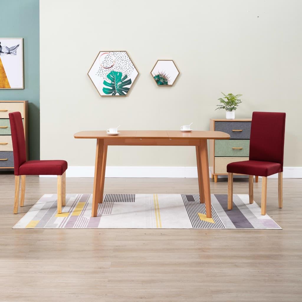 Jídelní židle 2 ks vínové textil