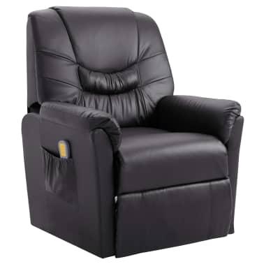 vidaXL Elektryczny fotel do masażu, z regulacją, szary, ekoskóra[1/11]