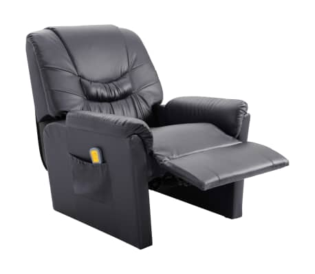 vidaXL Atlošiamas masažinis krėslas, pilkas, dirbtinė oda[5/11]