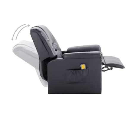 vidaXL Atlošiamas masažinis krėslas, pilkas, dirbtinė oda[6/11]