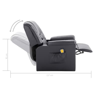 vidaXL Atlošiamas masažinis krėslas, pilkas, dirbtinė oda[11/11]