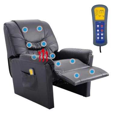 vidaXL Elektryczny fotel do masażu, z regulacją, szary, ekoskóra[9/11]