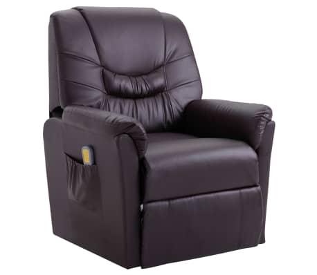 vidaXL Atlošiamas masažinis krėslas, rudas, dirbtinė oda