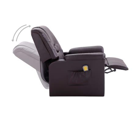 vidaXL Elektrické sklápacie masážne kreslo z umelej kože hnedé[6/11]